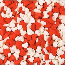 Посыпка кондитерская сердечки красно-белые 6 мм 100 гр
