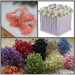 """Тычинки для цветов 240 шт """"Коралловый"""""""